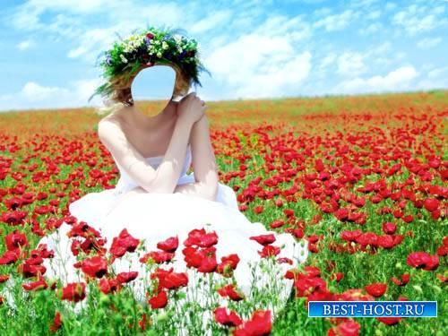 Женский шаблон - Яркая фотосессия в цветущих маках