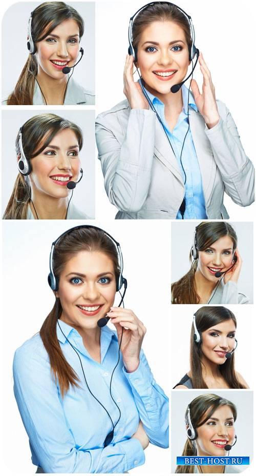 Девушки-операторы, девушка в наушниках / Girls operators, girl with headphones - Stock Photo