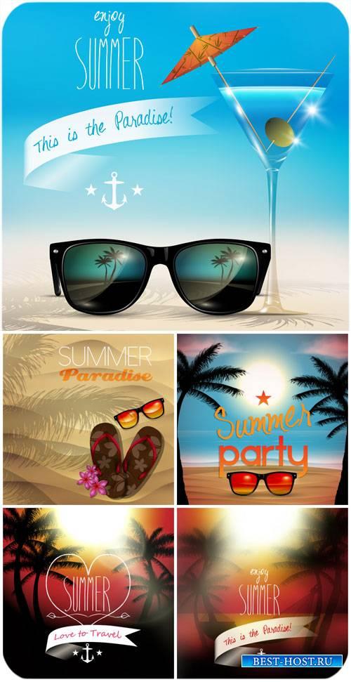 Летние фоны в векторе, морские пейзажи / Summer backgrounds vector, seascap ...