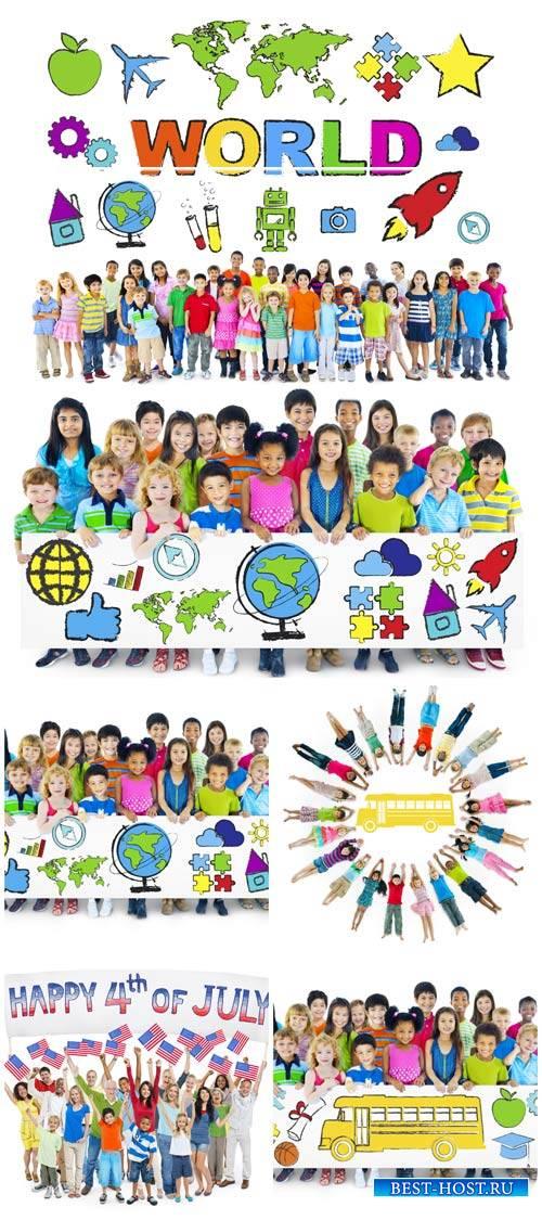 Дети разных стран мира с плакатами / Children around the world with posters ...
