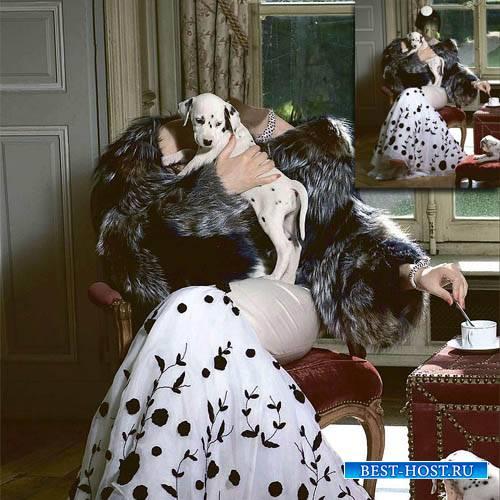 Шаблон для фотошопа - Девушка в платье с щенками