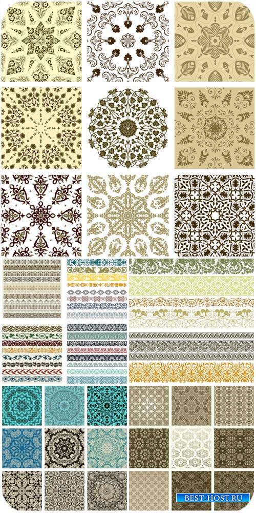 Текстуры, узоры и дизайнерские элементы в векторе / Textures, patterns and design elements vector