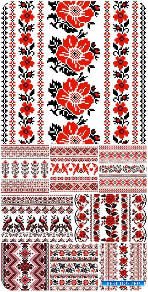 Красивая вышивка в векторе, фоны / Beautiful embroidery in vector backgrounds