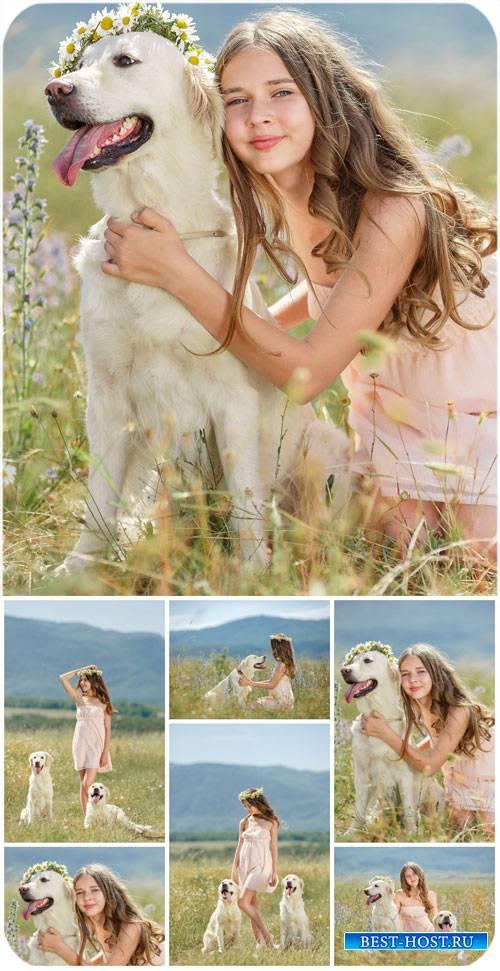 Девочка с собакой на природе / Girl with a dog on the nature - Stock Photo