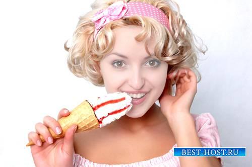 Шаблон для фото - Кудряшка с вкусным мороженым
