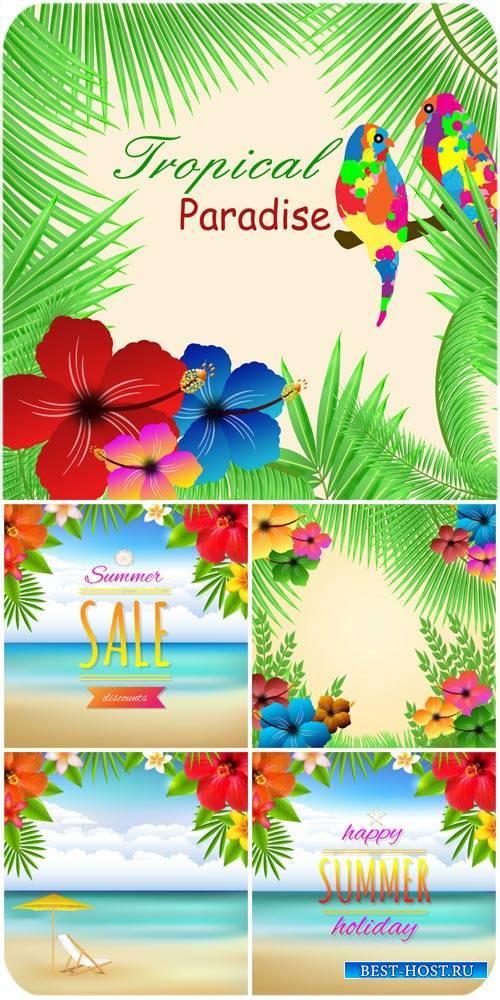 Райский уголок, летние морские фоны в векторе / Paradise, summer sea backgr ...