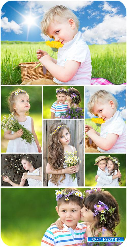 Маленькие дети с цветами / Small children with flowers, nature - Stock Photo