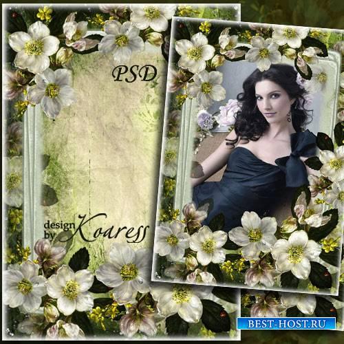 Винтажная рамка для фото с белыми цветами - Старинное фото