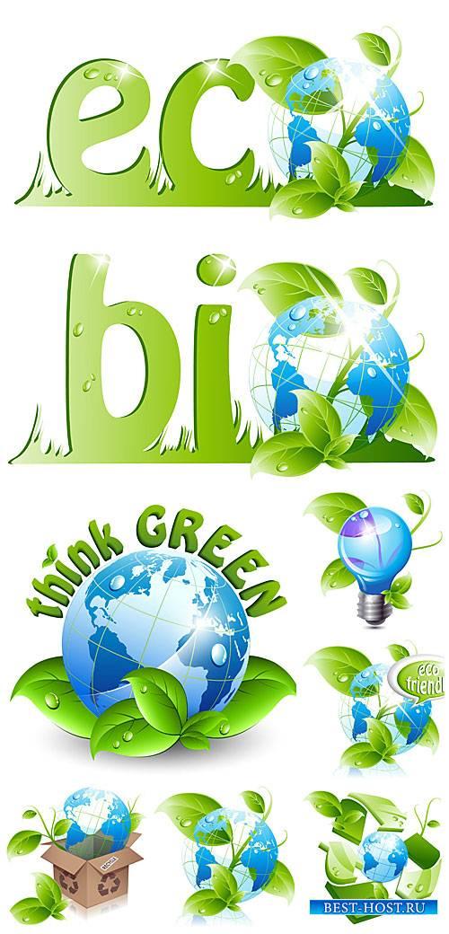 Эко элементы в векторе, планета с зелеными листьями / Eco elements, vector planet with green leaves