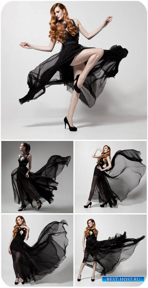 Девушка в черном длинном платье / Girl in a long black dress - Stock Photo