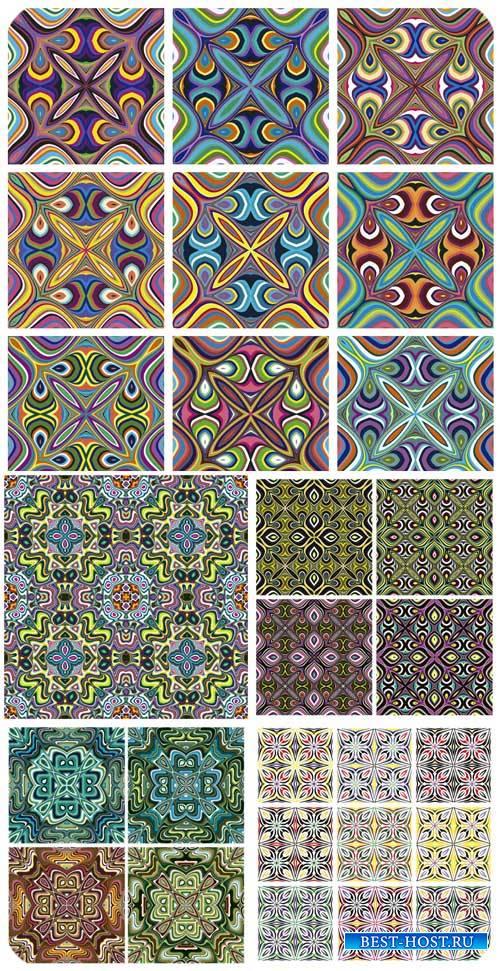 Векторные фоны с разноцветными цветочными узорами / Vector backgrounds
