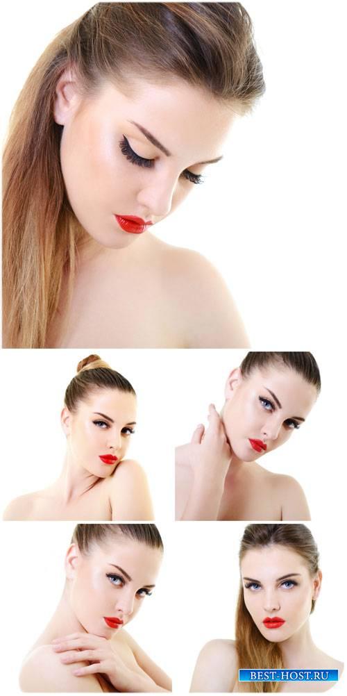 Красивая девушка с красной помадой / Beautiful girl with red lipstick - Stock photo