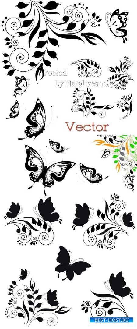 Элементы для дизайна в Векторе – Декоративные завиточки и бабочки