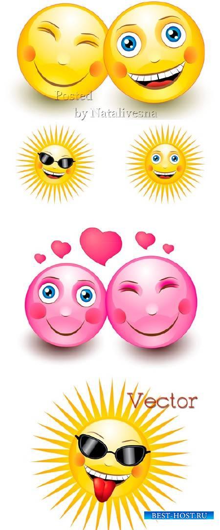 Подборка детского клипарта в Векторе – Влюбленный смайлик и солнышко