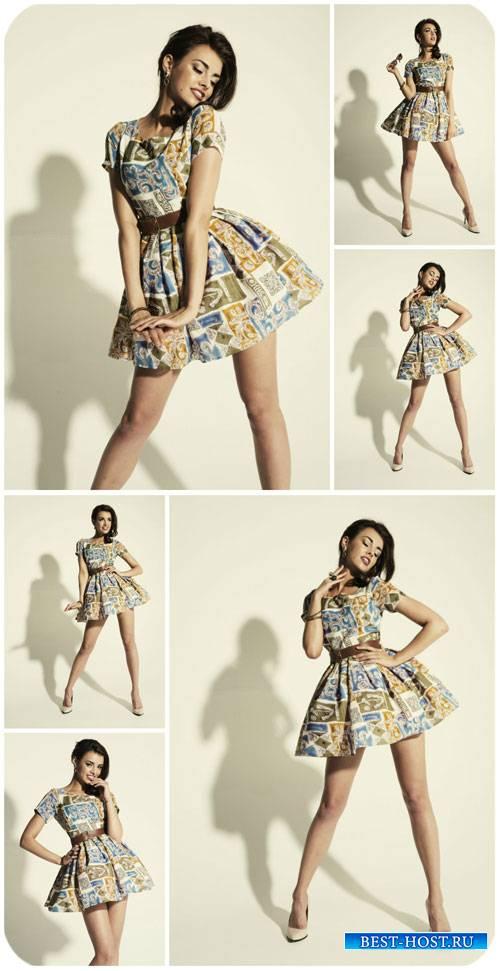 Девушка в платье в стиле ретро / Girl in a dress in retro style - Stock Photo
