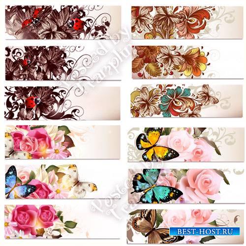 Цветочные баннеры в векторе - Flower banners in a vector