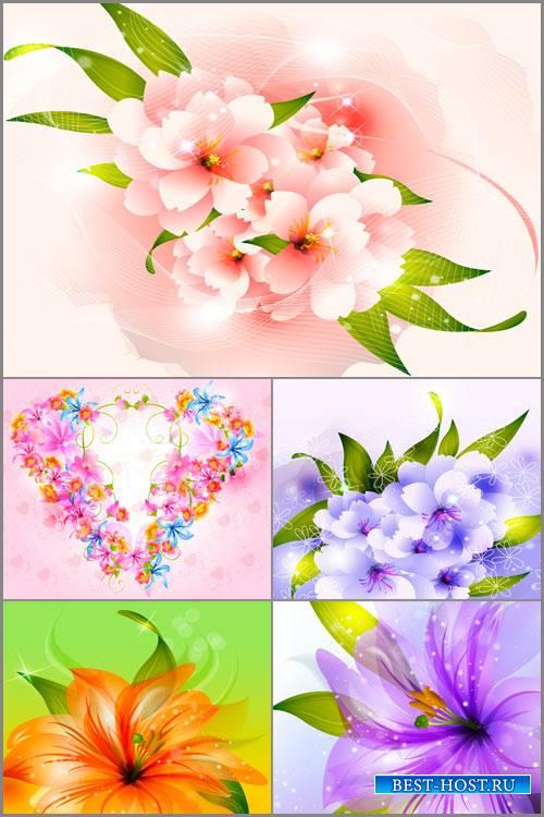 Набор цветочных фонов в векторе 3