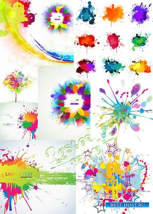 Разноцветные кляксы в векторе - Blots in a vector