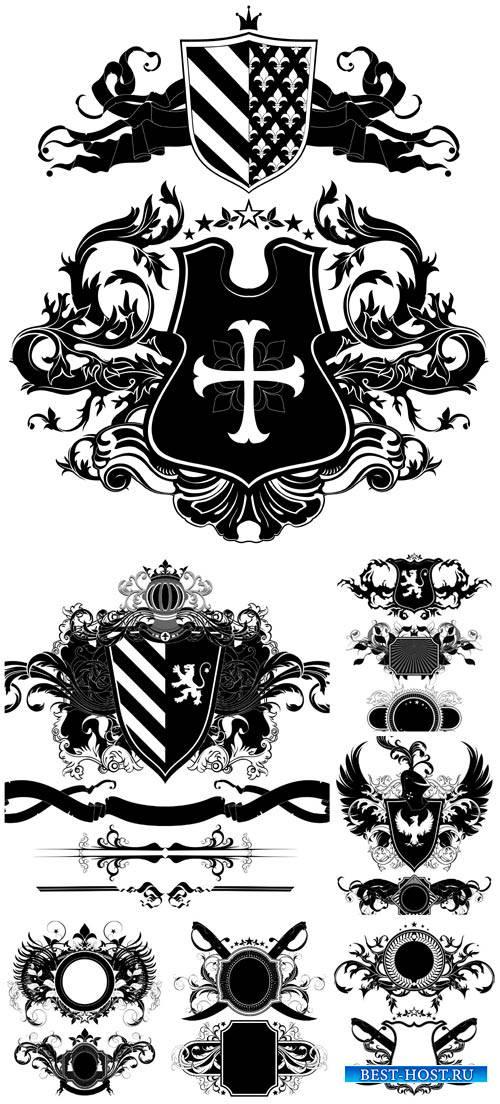 Геральдические элементы в векторе, герб / Heraldic elements vector, coat of ...
