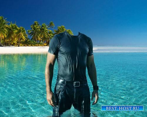 PSD шаблон для мужчин - Райский остров