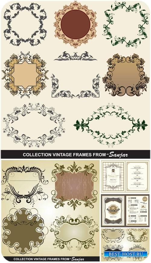 Винтажные рамки, декоративные элементы в векторе / Vintage , decorative ele ...