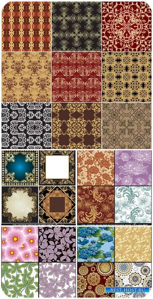 Фоны с узорами, цветочные текстуры в векторе / Backgrounds with patterns, f ...