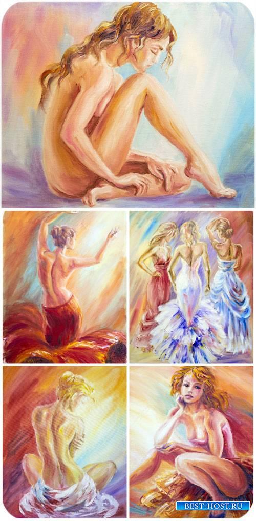 Девушки, арт графика, картины / Girls, art graphics, pictures - stock photos