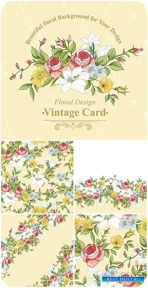 Винтажные векторные фоны с цветами, розы / Vintage vector background with flowers, roses