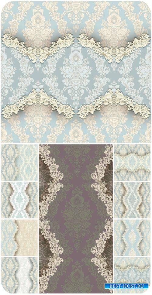 Винтажные голубые текстуры с узорами, векторные фоны / Vintage texture with blue ornaments, vector backgrounds