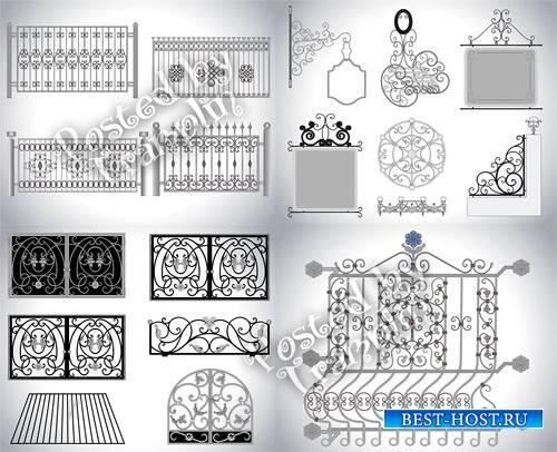 Металлические кованые ворота и заборы в векторе