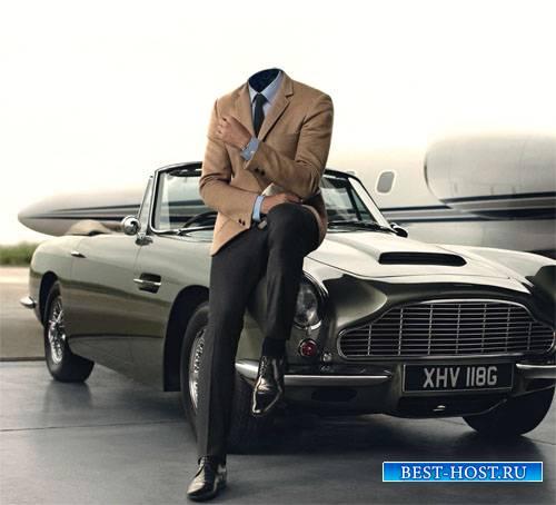 Шаблон для фотомонтажа - Мужчина и ретро автомобиль