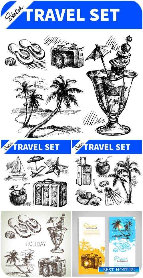 Путешествие, векторный набор / Travel, vector set