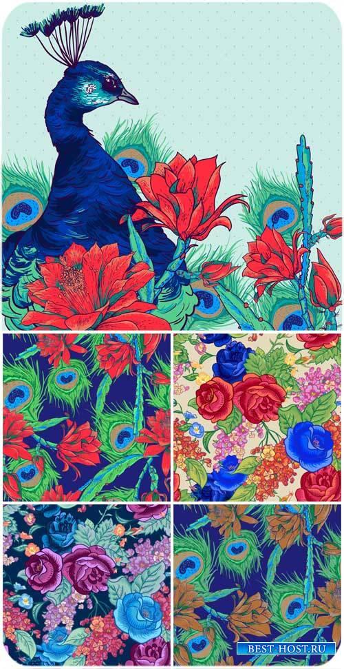 Векторные фоны с павлином и цветами / Vector background with flowers and peacock