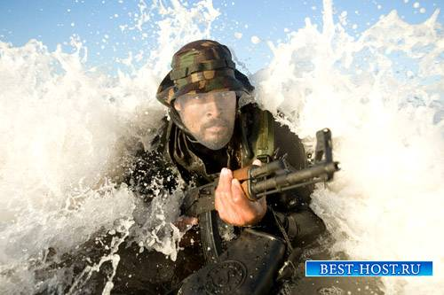 Шаблон мужской - Спецотряд с оружием в воде