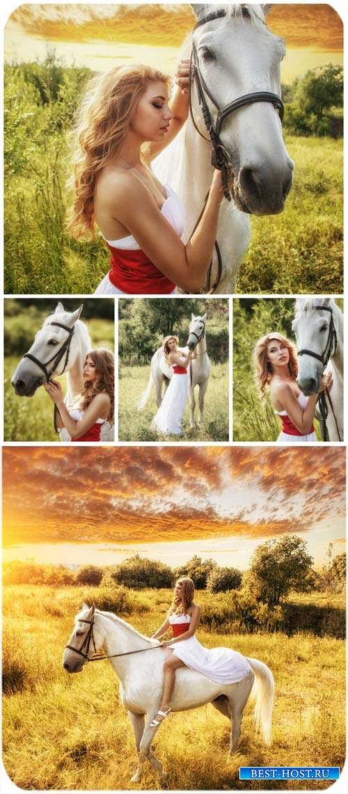 Девушка с лошадью, природа / Girl with a horse, nature - Stock Photo