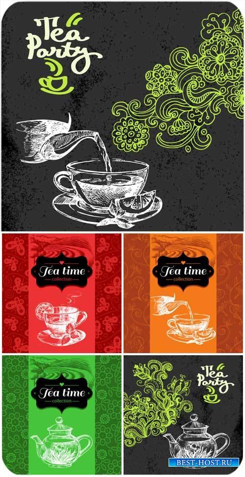 Чай, векторные фоны / Tea, vector backgrounds