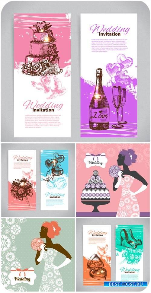 Свадебные приглашения, баннеры и фоны в векторе / Wedding invitations, banners and backgrounds vector