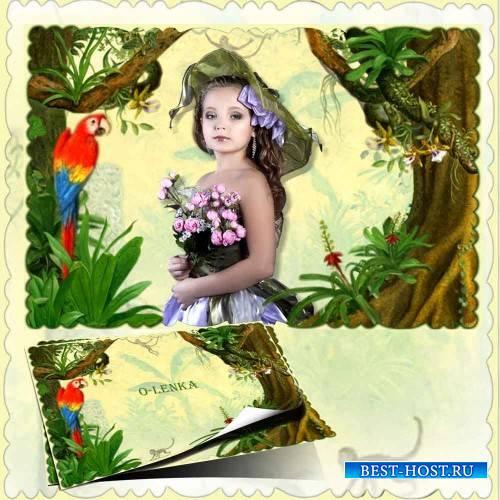 Рамка с фоном для фотошопа - Попугай сидит на ветке