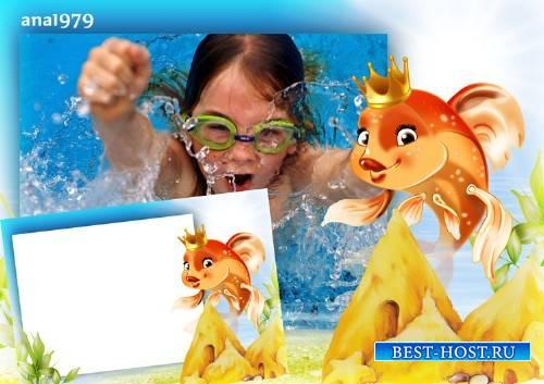 Рамка для фотошопа – Золотая рыбка