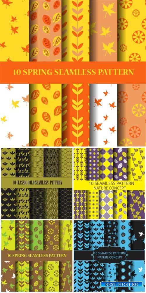 Природные и осенние текстуры, фоны в векторе / Natural and autumn textures, backgrounds vector
