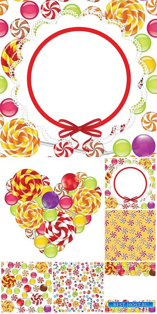 Карамельки, леденцы, векторные фоны / Caramels, lollipops, vector backgrounds