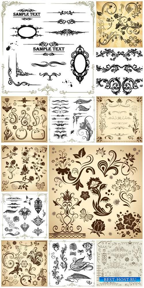 Дизайнерские элементы / Design elements, flowers and ornaments vector
