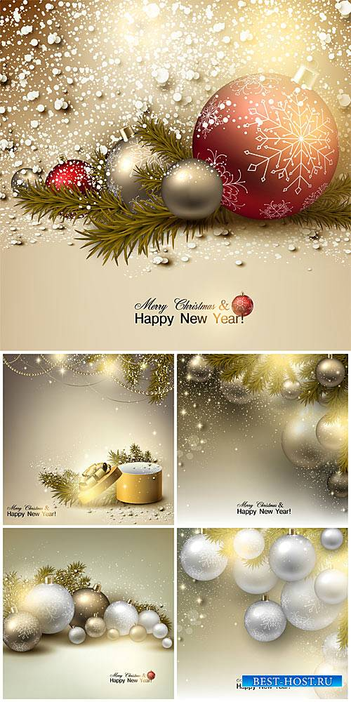 Рождество и новый год / Christmas and new year, gold vector backgrounds