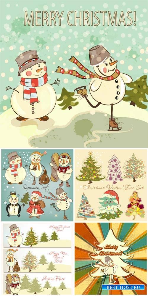 Рождественский вектор в винтажном стиле / Christmas in vintage style vector