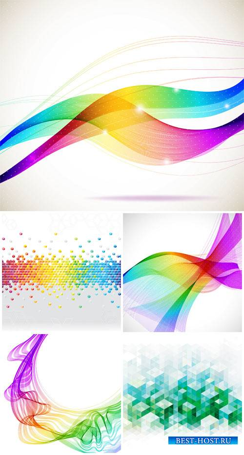 Абстрактные векторные фоны с цветными линиями / Abstract vector background with colored lines