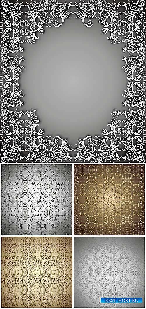 Золотые и серебристые узоры, векторный фоны / Gold and silver patterns, vector backgrounds