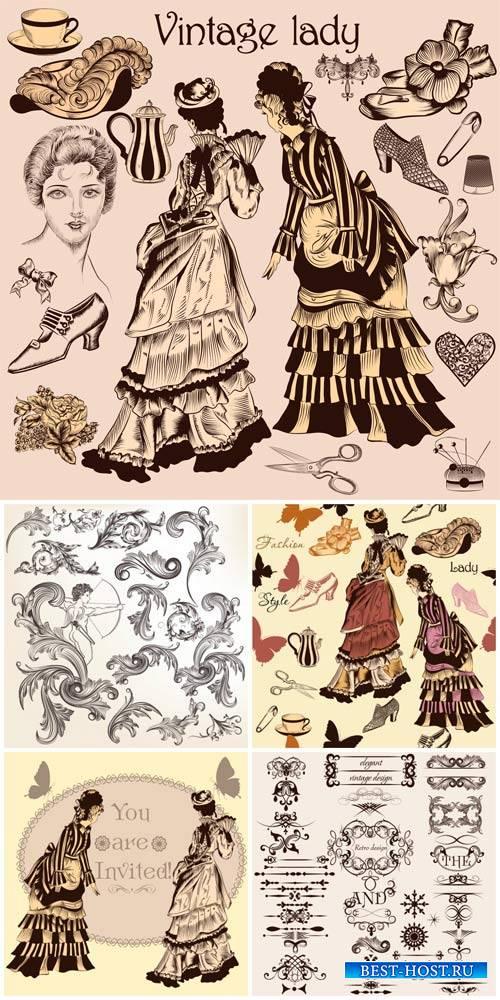 Винтажные леди, дизайнерские элементы в векторе / Vintage lady, design elem ...