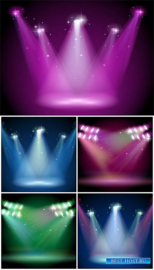 Освещение прожекторами, векторные фоны / Lighting spotlights, vector backgrounds