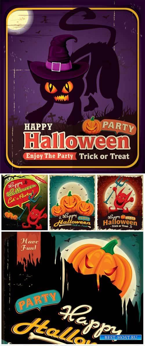 Хэллоуин, черная кошка и тыквы, фоны в векторе / Halloween black cat and pu ...