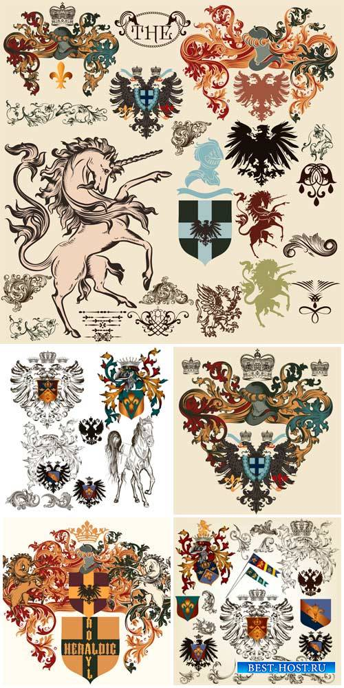 Геральдические дизайнерские элементы в векторе / Heraldic design elements v ...